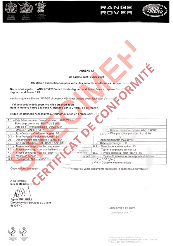 certificat de conformit europ en land rover coc commandez votre certificat de conformit c o. Black Bedroom Furniture Sets. Home Design Ideas