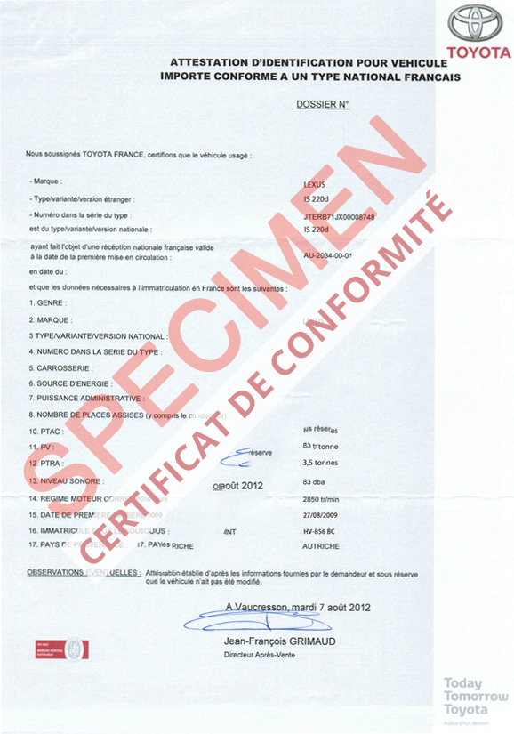 certificat de conformit europ en lexus coc commandez votre certificat de conformit c o c. Black Bedroom Furniture Sets. Home Design Ideas