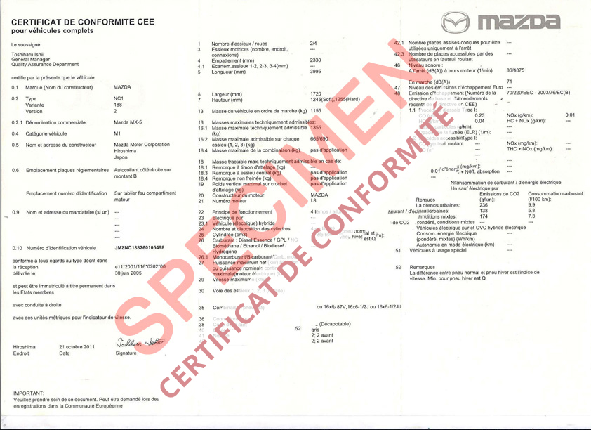 certificat de conformit europ en mazda coc commandez votre certificat de conformit c o c. Black Bedroom Furniture Sets. Home Design Ideas