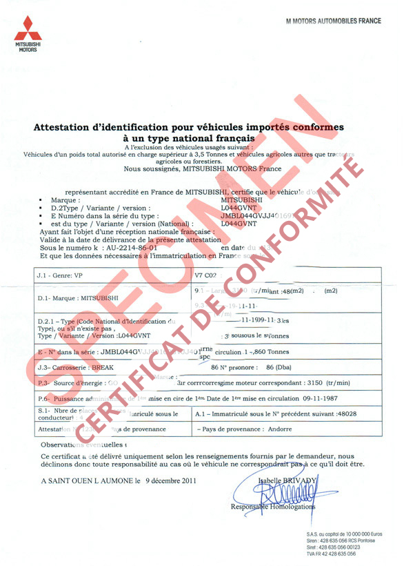 certificat de conformit europ en mitsubishi coc commandez votre certificat de conformit c o. Black Bedroom Furniture Sets. Home Design Ideas